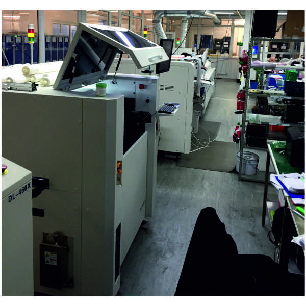Full SMT Line Installed including ESE US-7000X, Hanwha DECAN F2 Flexible pick and place machine with optimum 80000cph, folungwin vp660 reflow and Jutze XI-2000 AOI